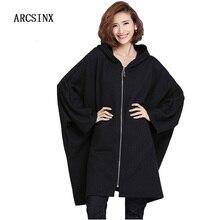 ARCSINX Oversize Women Jackets 4XL 5XL 6XL 7XL 8XL 8XL 9XL 10XL Autumn Black Batwing Sleeve Hooded Women Overcoats Plus Size
