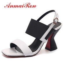 ANMAIRON Women High Heel Sandals Open Toe Strange Heel Mixed Color Buckle Real Leather Shoes For Party Footwear Size 33-42 CR839 rizabina women high heel shoes buckle mixed color bowknot open toe heels sandals ladies daily party footwear size 30 46