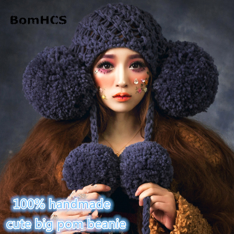 BomHCS Cute Girl Winter Warm Knitted Beanie 100% Handmade Hat with Big Poms Caps bomhcs cute big flower beanie winter lady s warm crochet knitted hat 10
