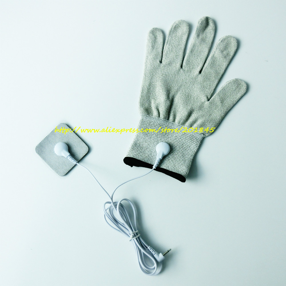 2Pcs electrotherapy electrode conductive massage glove + 2pcs of button electrode lead wires cable 2.5mm DC head
