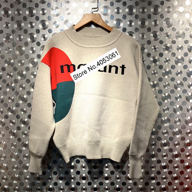 Contrast Color Patchwork Letter Printed Round Neck Knit Sweater 2019 New Spring Fashion Knitting Pullover Top