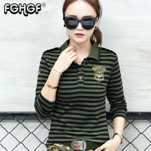 861ecc3160c high quality casual Polo Shirt Plus Size women long Sleeve tops military  style Cotton army green