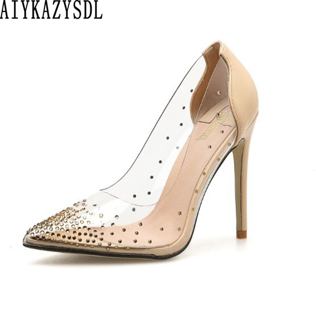 AIYKAZYSDL 2019 Women PVC Clear Transparent Pumps Rhinestone Crystal High  Heel Sexy Wedding Bridesmaid Party Clubwear e4eaf20afc01