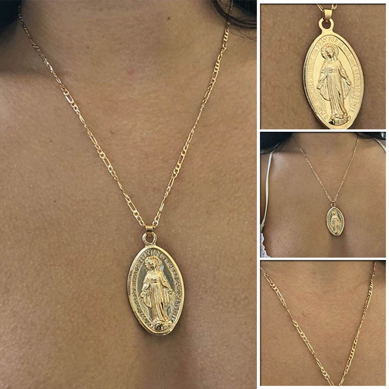Virgin Mary Necklace, Dainty Gold Medallion Necklace, Mother Mary Pendant, Religious, Catholic, Gift