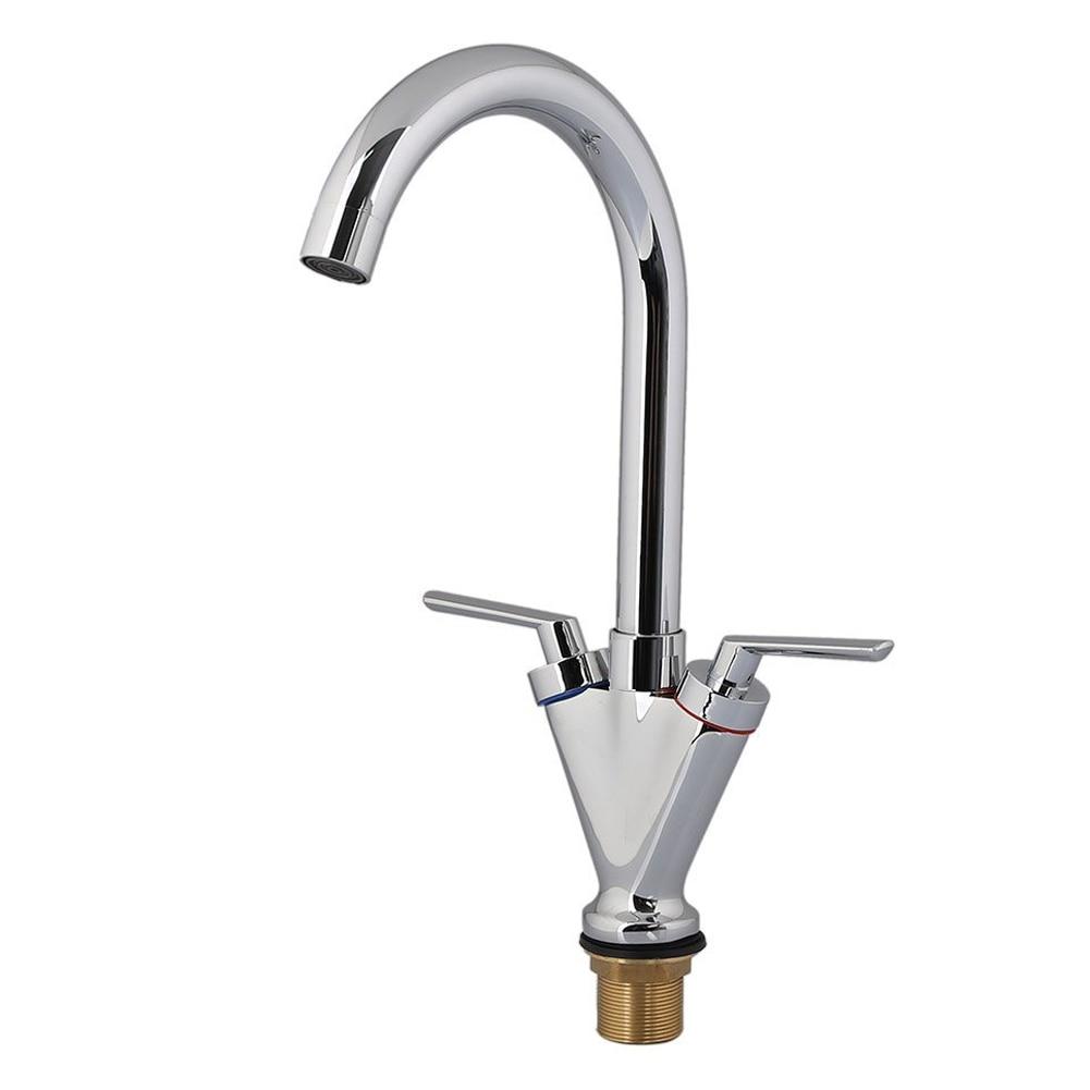 grilled paint Kitchen Faucet Sink Tap Dual Lever Swivel Spout Rotating Nozzle Silver