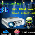 Para de gran pantalla de cine 5500 lumens Android 4.2.2 Wifi HD proyector LED Full HD soporte 3D Home Theater TV proyector