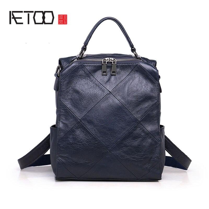 AETOO Women Genuine Leather Backpack School Bags For Teenagers Girl's Travel Bag Designer High Quality Sheepskin Backpacks Mochi