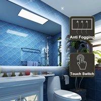 Bathroom Bath Wall Mirror Illuminated LED Light Anti Fog Makeup Mirror Lights Rectangle Shower Washroom Mirror Bathroom Fixtures