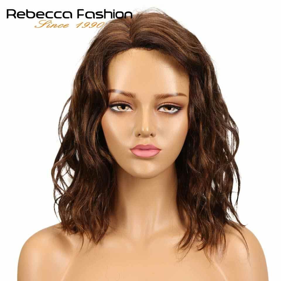 Pelucas de encaje de pelo humano de onda Natural de Rebeca para mujeres negras cabello Remy peruano mojado y ondulado Peluca de encaje de 14 pulgadas envío gratis