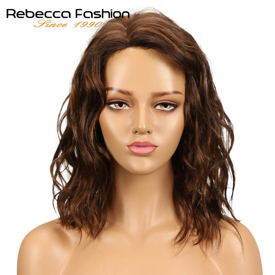 Rebecca Natural Wave Human Hair Lace Wigs For Black Women Peruvian Remy Hair Wet And Wavy L Part Lace Wig 14 Inch Free Shipping