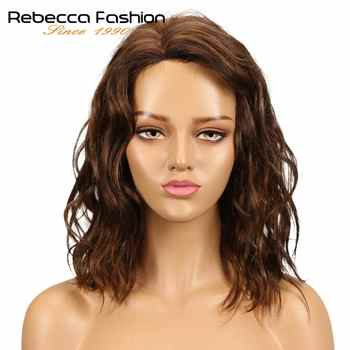 Rebecca Natural Wave Human Hair Lace Wigs For Black Women Peruvian Remy Hair Wet And Wavy L Part Lace Wig 14 Inch Free Shipping - DISCOUNT ITEM  41% OFF All Category