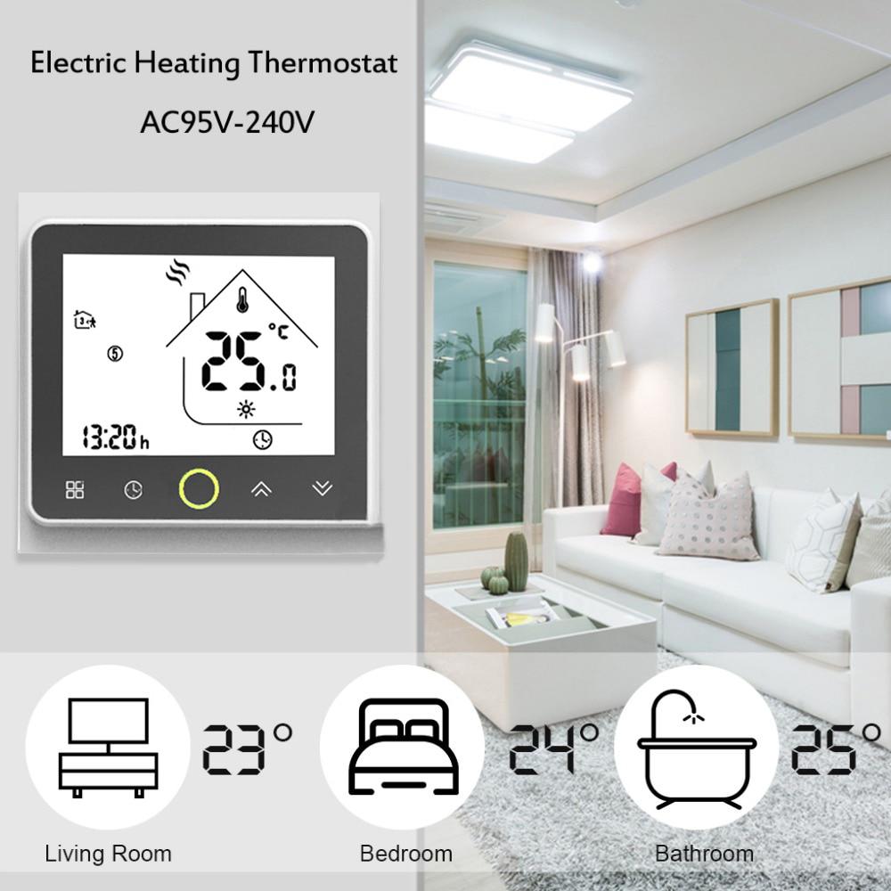 Piso de Aquecimento Elétrico Termostato programável para Unidades de Piso Quente LCD Touch Screen Controlador de Temperatura Ambiente 16A