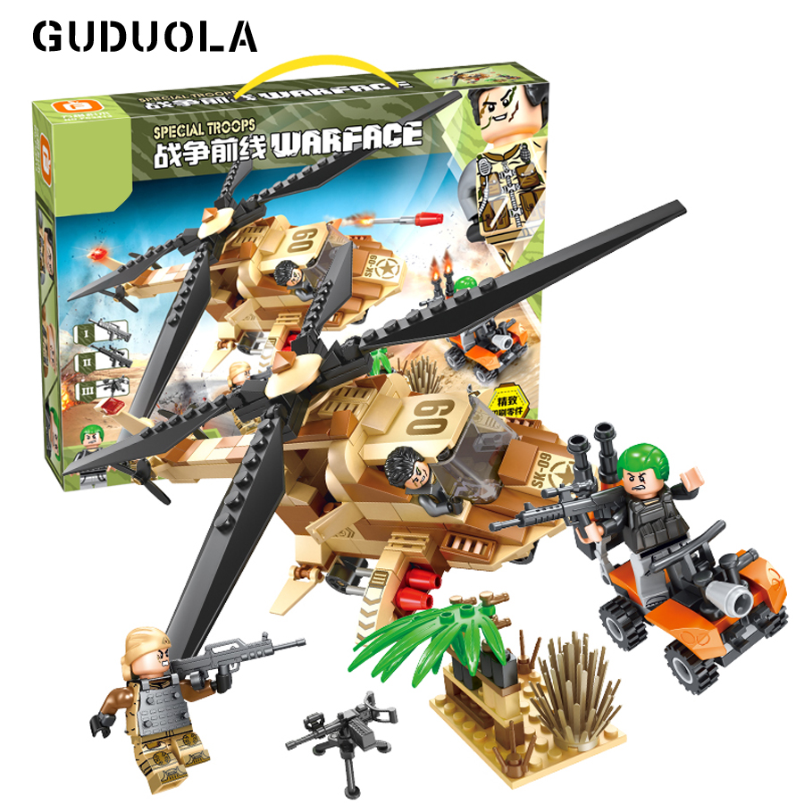 Guduola Military series Rescue Helicopter Building Blocks set brick DIY toys Compatible Legoing city weapon soldiers 336pcs/set ...