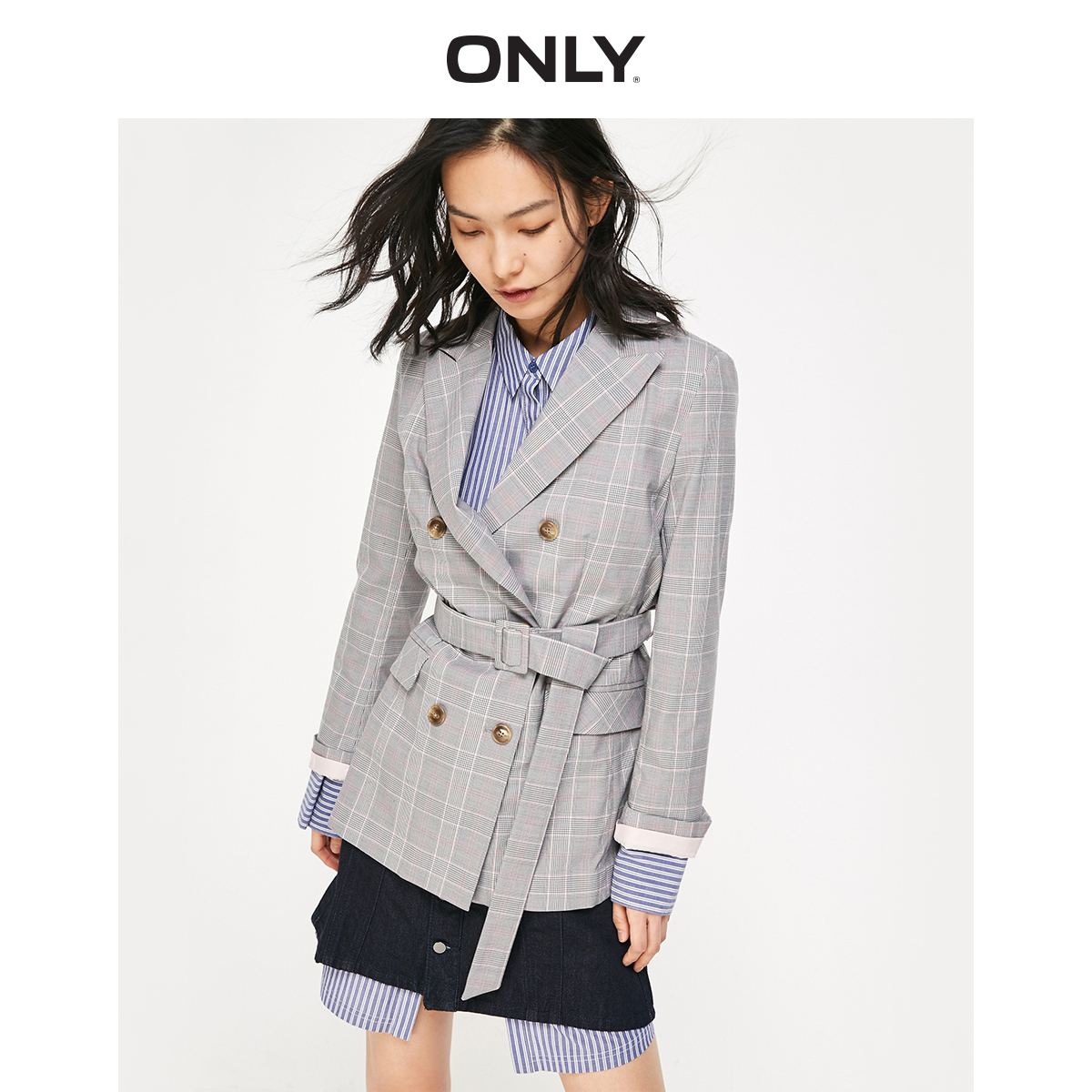 ONLY 2019 Spring Summer New Women's Vintage Leisure Checked Blazer |119108531