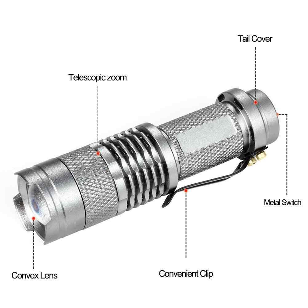 CASTNOO 1 ~ Uds 10000LM Q5 Mini LED táctica luz linterna para bicicleta lámpara plata brillante A609