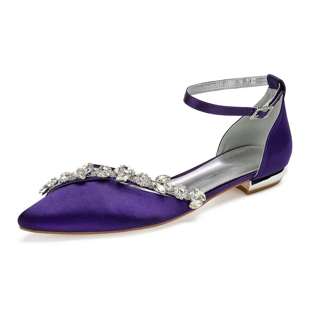 OnnPnnQ confort plat Satin femmes chaussures de mariage strass bout pointu cheville boucle sangle formelle fête robe pompes