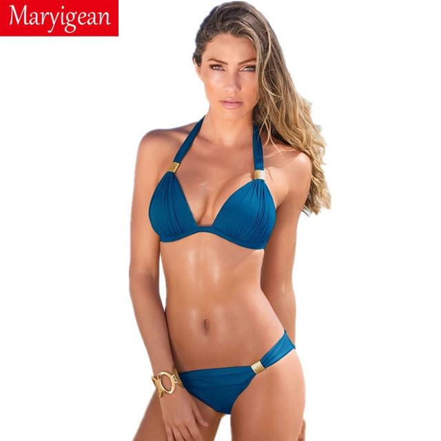 ce73f183d07 Maryigean 2018 Brazilian Plus Size Swimsuit Women Bandage Bikini Set  Beachwear Bathing Suits Swim Wear Swimwear Female Bikini