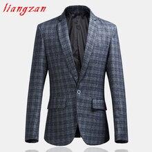Men Plaid Blazer Suit Brand Slim Fit Jacket Suit Male Cotton One Single Spring Autumn Big Size 6XL Casual Blazer SL-F032