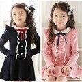 2017 Rosa Marca Vestido para o Bebé Primavera Outono Crianças crianças Meninas Vestido de Arco Pérola de Algodão de Manga Comprida Vestido Da Menina roupas