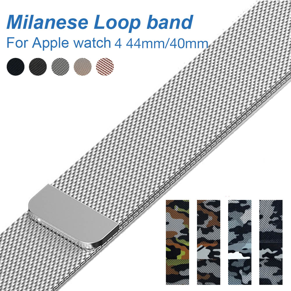 Camouflage Milanese Loop band For Apple watch 4 44mm 40mm Link Bracelet Strap for Apple watch Series 4 /3 / 2 42mm 38 Watchband все цены