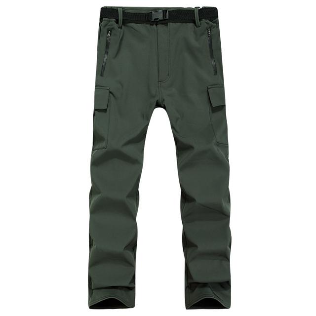 Lã quente Calças Da Carga Dos Homens Casuais Exército Verde À Prova D' Água À Prova de Vento Tático Homem Calças de Inverno Cor Sólida de Trem Ao Ar Livre