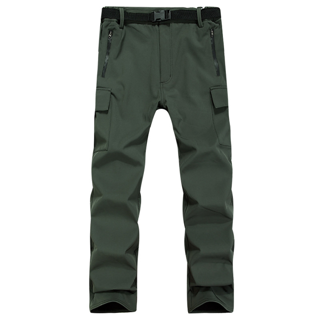 Warm Fleece Casual Cargo Pants Mens Army Green Waterproof Windproof Tactical Man Trousers Winter Solid Color Train Outdoors
