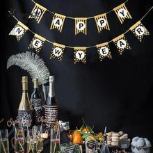 Блестящая гирлянда с новогодним баннером с ленточным подвесным украшением
