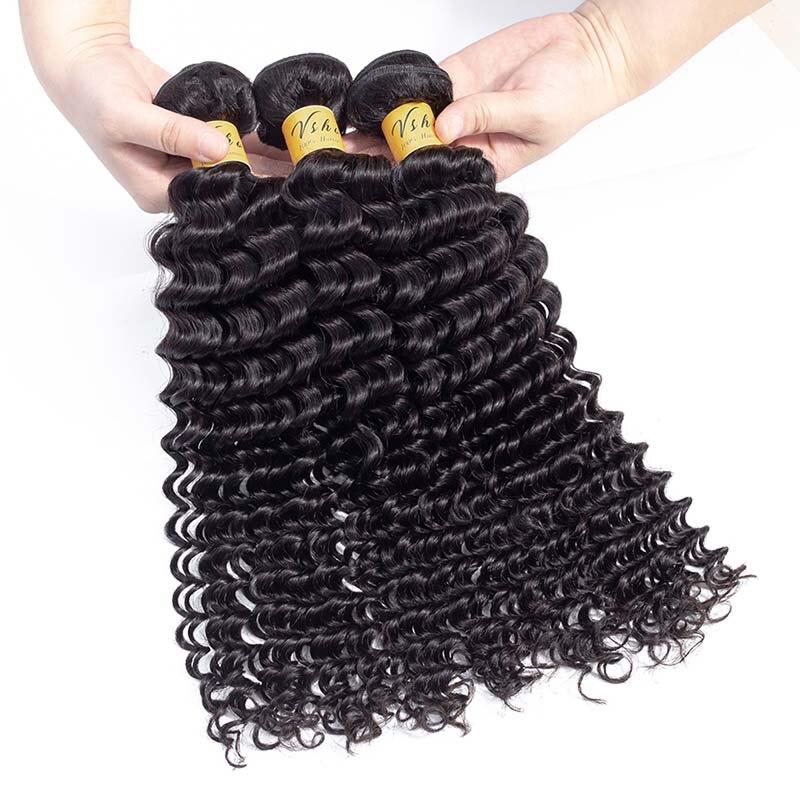 Image 4 - VSHOW Hair Bundles Brazilian Deep Wave Bundles 10 26 Inch Natural Color Hair Weave 100% M Remy Human Hair Extension-in Hair Weaves from Hair Extensions & Wigs