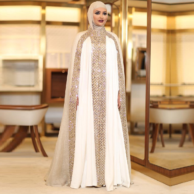 f93af6cf135 Dubai Kaftan Arabic Islamic Muslim Evening Dress Long Sleeve Modest White  and Champagne Rhinestone Evening Gown