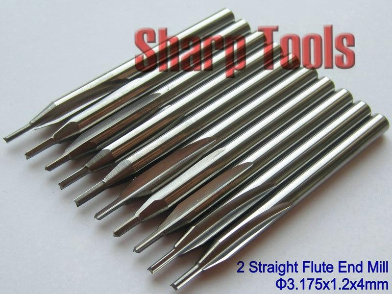 10pc Double Flute Straight Endmill Tool CNC Router Bits FOAM MDF PVC WOOD 4*25mm