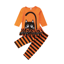 купить Kids Baby Girls Cartoon Kitten Cat Print Outfits Clothes Casual Ruffle Long Sleeve T-shirt Striped Pants Set Toddler New 2019 по цене 622 рублей