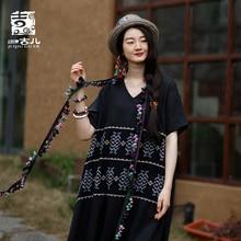 Jiqiuguer Spring/Summer 2019 New Vintage Dress National Style Womens Linen Print V-Neck Patchwork Dresses G192Y016