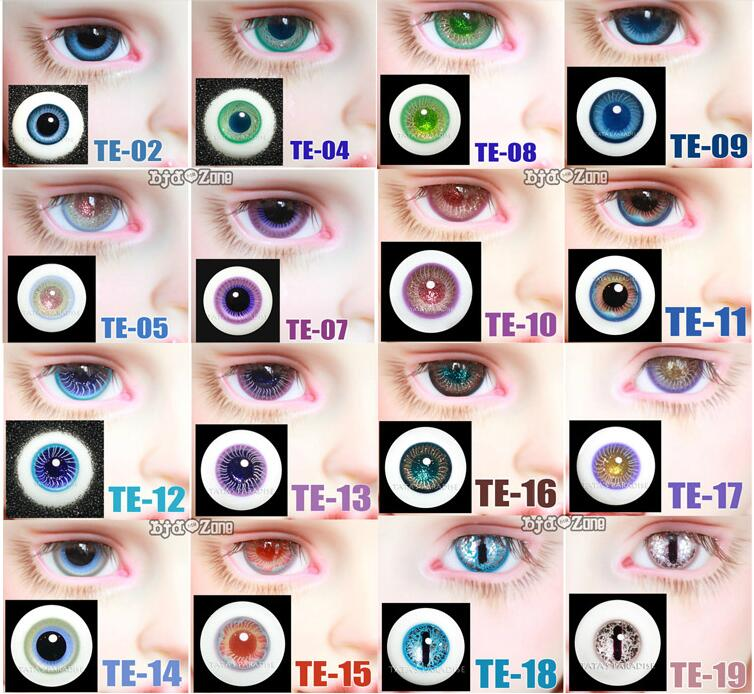Hot 14mm 16mm 16 Color Eyeballs For 1/3 1/4  BJD Doll Glass Eyes Outfit