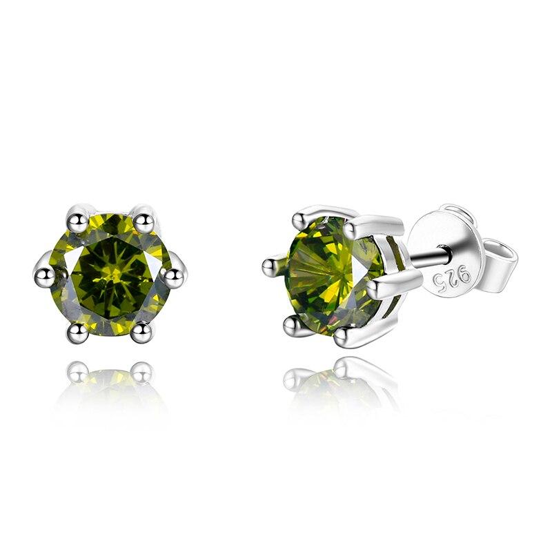 925 Sterling Silver Light Green Peridot Round Shape w// Screw Back Stud Earrings