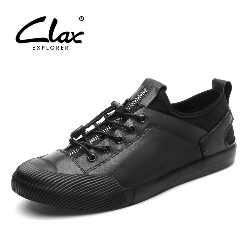 CLAX Men Casual Shoes Fashion 2018 Spring Summer Design Flats Leisure Shoe Young Man Leather Walking Footwear Slip on clax men s casual shoes fashion leisure shoe 2018 spring summer men leather footwear breathable handmade loafers sewing sole