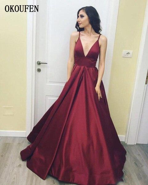 Burgundy Prom Dresses 2019 Deep V-Neck Spaghetti Straps Sexy Simple Ball Formal Party Gown Vestidos De Fiesta Largos Elegantes