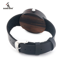 2016 New Natural Black Ebony Wood Watch with Genuine Leader Strap Wooden Wristwatch Retail Box Wood Wristwatch for Men and Women