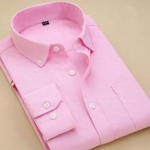 男性ファッションオックスフォードシャツ男性ドレス白ピンク男性 Camisas 固体男性の長袖スリムフォーマルなワークオフィス男性 Clothes2018