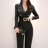 Long Sleeve Sashes Striped Jumpsuit Black V neck Women Work Business Ankle length Pant Jumpsuits Slim Waist Long Playsuit 2019