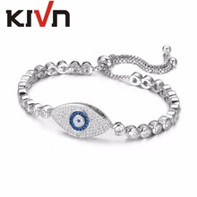 KIVN Fashion Jewelry Adjustable Bolo Pave CZ Cubic Zirconia Turkish Blue eye Charm Womens Girls Tennis Bridal Wedding Bracelets