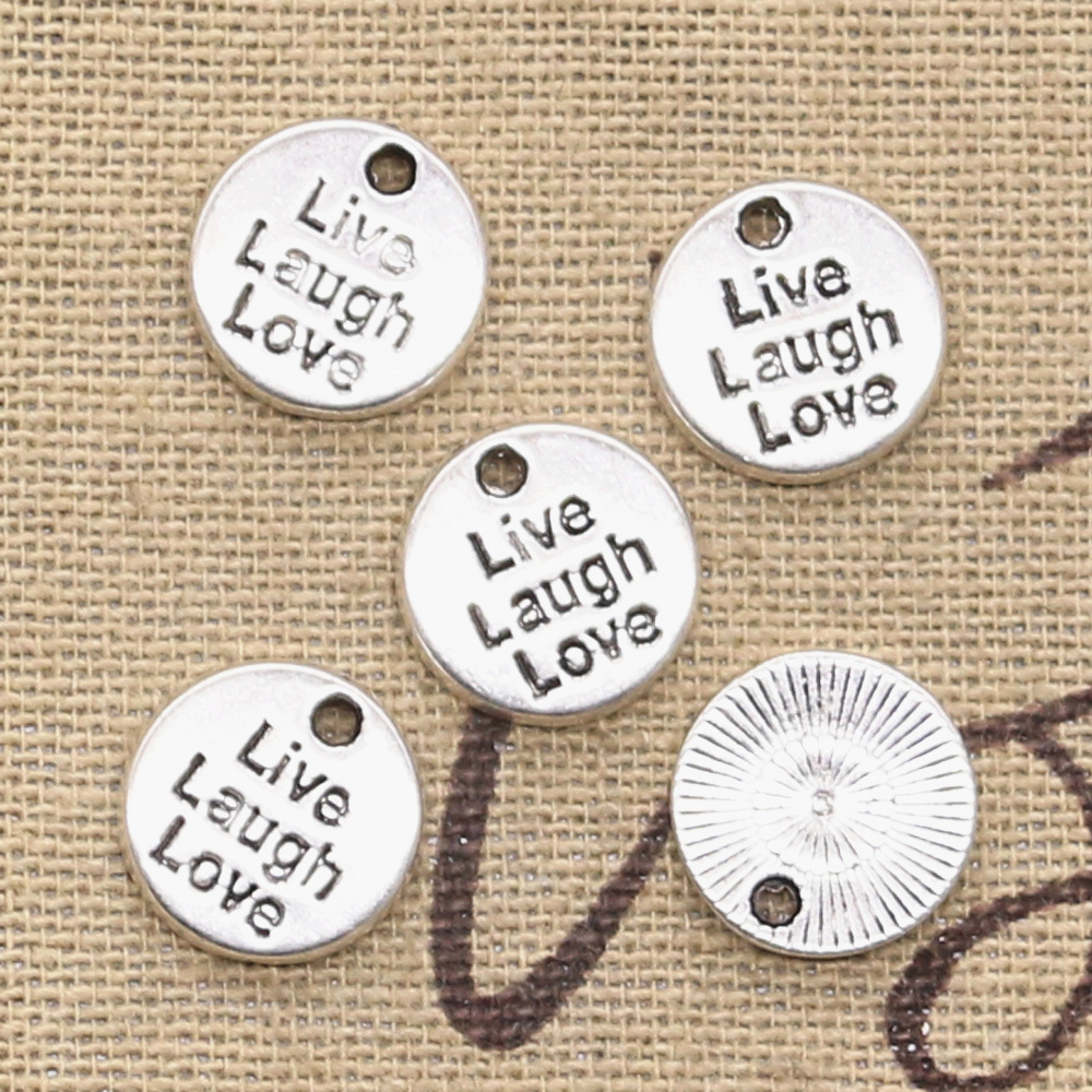10 Stücke Charme Platten Live Lachen Liebe 12x12mm Antike, Der Anhänger Fit, Vintage Tibetischen Silber, Diy Armband Halskette ZuverläSsige Leistung