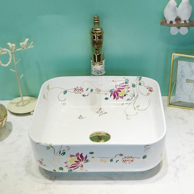 Square Ceramic Sinks Counter Top Wash Basin Bathroom Sink Vessel Decorative  Bathroom Chinese Wash Basin