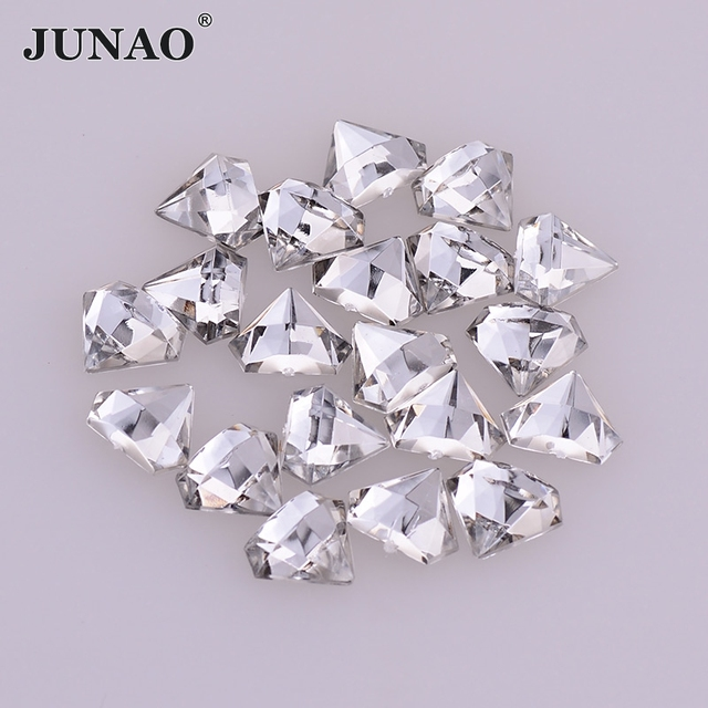 JUNAO AAAAA 10x20mm Clear White Crystal Acrylic Diamond Rhinestones Flat  Back Gems Non Sewing Strass Applique for Clothes Crafts 265953615cfb