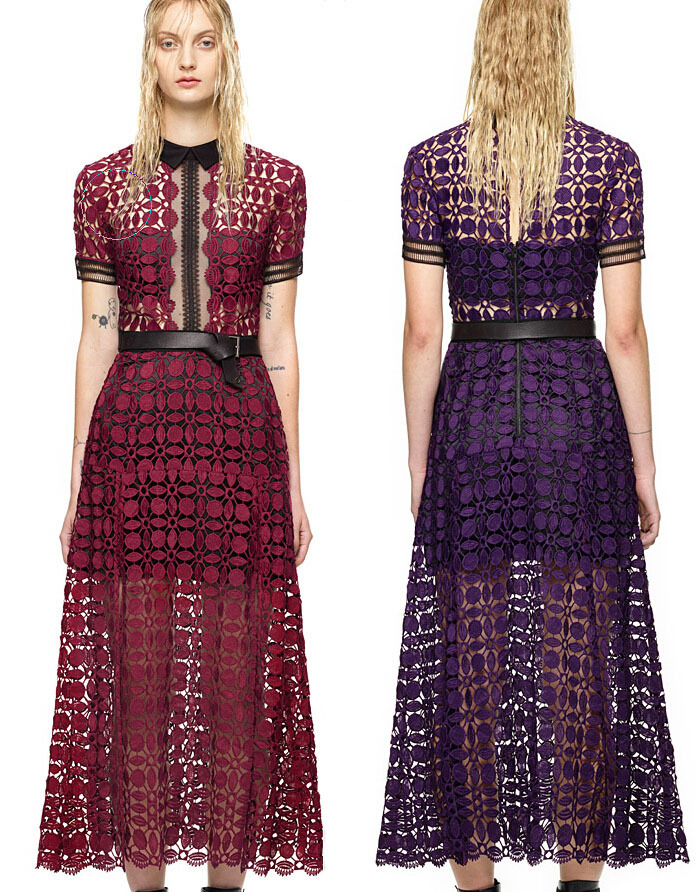 932e0cda2a4c New 2015 Self Portrait scallop edged midi Dress For Formal Party Summer  Style A line CutWork Lace Hollow Out Red Purple Dress nn