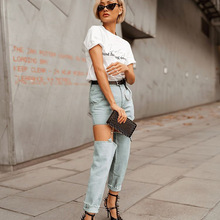 HXJJP2019 Spring and Summer Metal Buckle Jeans Womens Clothes Streetwear  Mid Waist Spliced Full Length