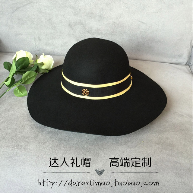 Moda de ala ancha 2017 bloque de color para la decoración de la cinta m dome sombreros de ala moda femenina sombrero