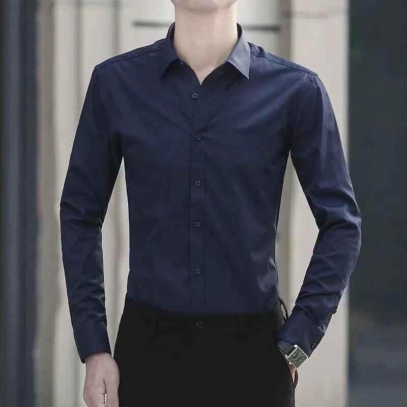 Мужские 4XL 5XL Большие размеры, деловое платье, рубашка с длинными рукавами, белая, синяя, черная, красная, умная, мужская, Повседневная рубашка, плюс HOWDFEO