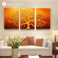 3 pcs Combined Tree of Life Resin Wall Painting Frameless Art Work Pictures for Living Room
