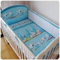 ¡ Promoción! 5 unids malla de algodón cuna bedding bumper bebé recién nacido bedding set de dibujos animados cuna bumpers, incluye (4 bumpers + hoja)