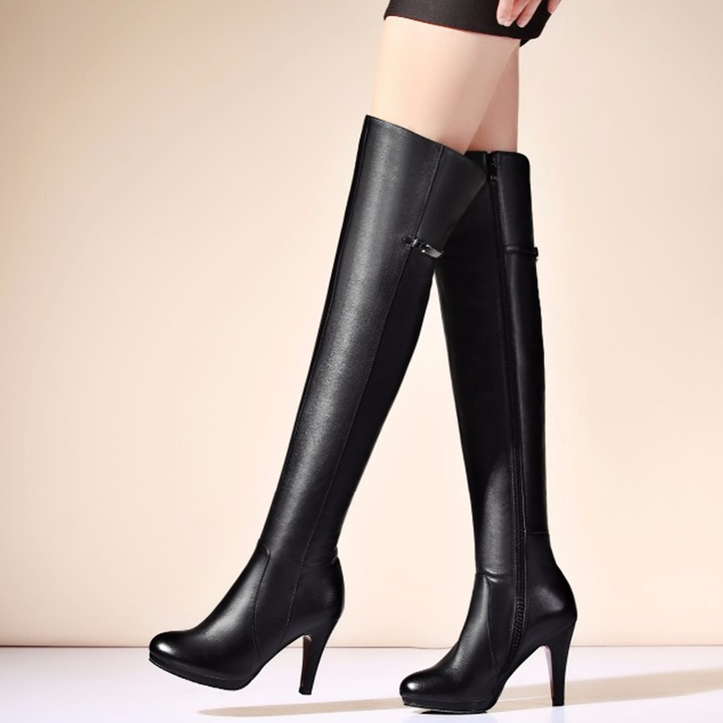 Top Quality 2019 Hot Fashion Women Boots Sexy High Heels Over the Knee Boots PU leather
